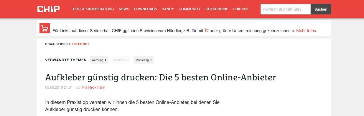 Stickma auf Chip.de
