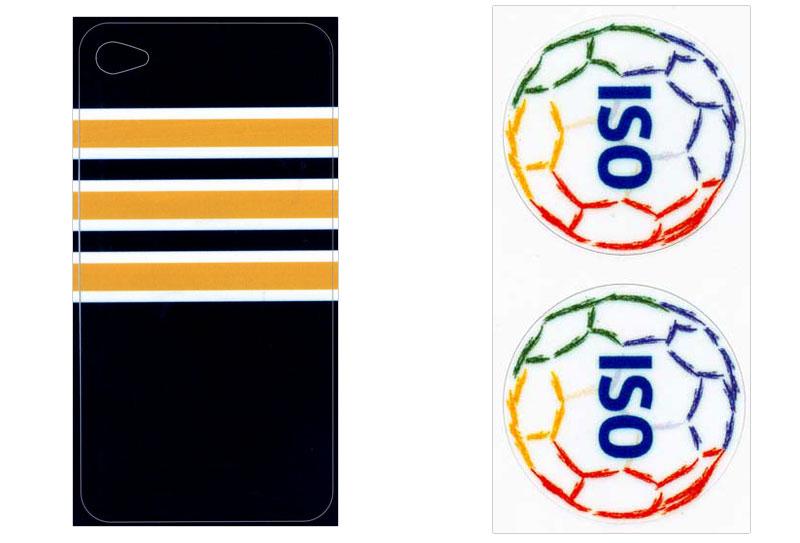 Links: Dekoration für ein iPhone® (Rückseite), Rechts: Werbesticker - jeweils angestanzt