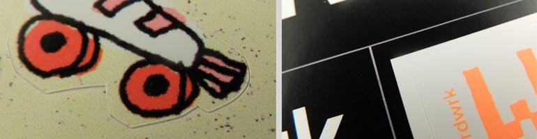 Aufkleberbögen, Anstanzungen im Detail