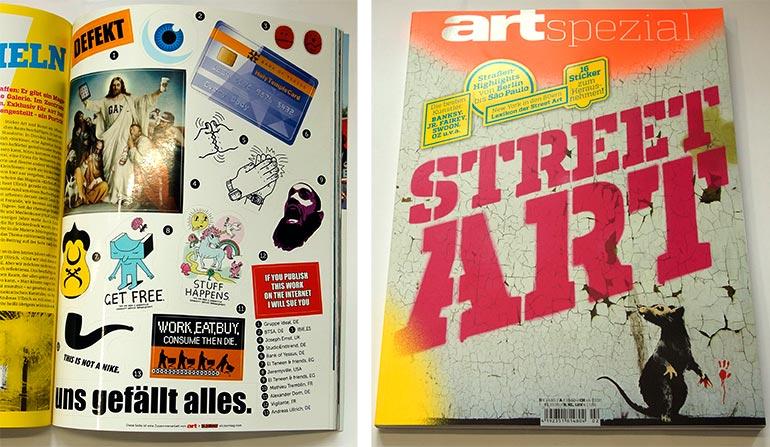 """Aufkleberbogen eingeheftet in """"art spezial"""" Magazin"""