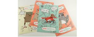 Aufkleber-Postkarten, auch mit Anstanzung
