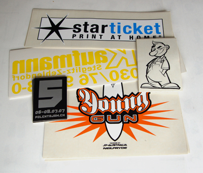 screen printing stickers, transparent material with spot colors